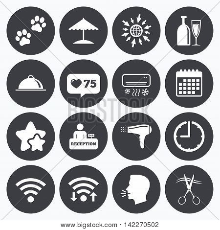 Calendar, wifi and clock symbols. Like counter, stars symbols. Hotel, apartment services icons. Wifi internet sign. Pets allowed, alcohol and air conditioning symbols. Talking head, go to web symbols. Vector