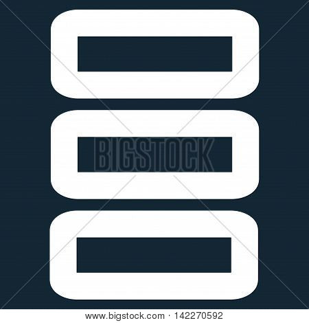 Database glyph icon. Style is stroke flat icon symbol, white color, dark blue background.