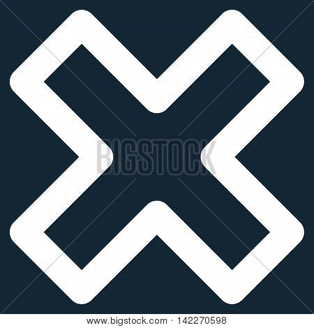 Delete X-Cross glyph icon. Style is linear flat icon symbol, white color, dark blue background.