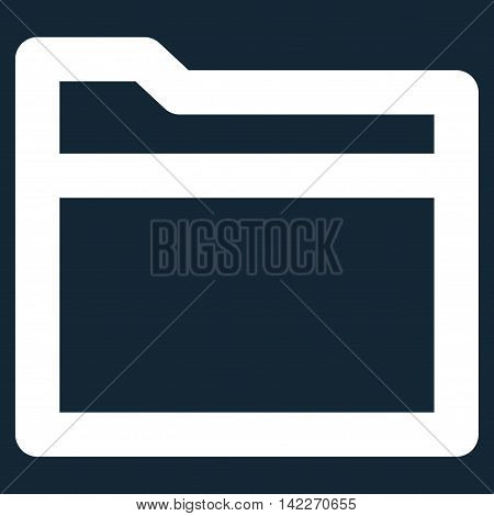Folder glyph icon. Style is contour flat icon symbol, white color, dark blue background.