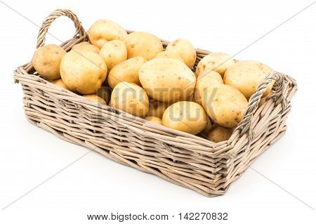 New potato isolated on white background. Selective focus.