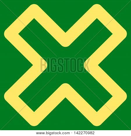 Delete X-Cross glyph icon. Style is contour flat icon symbol, yellow color, green background.