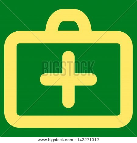 First Aid glyph icon. Style is contour flat icon symbol, yellow color, green background.