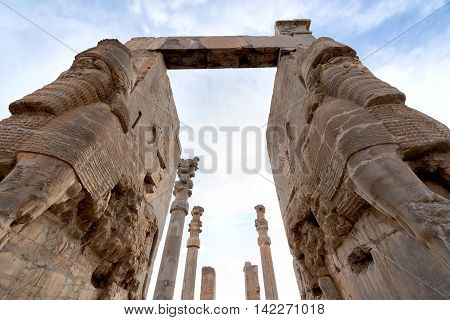 View of Persepolis in northern Shiraz Iran. Persepolis has led to its designation as a UNESCO World Heritage Site.