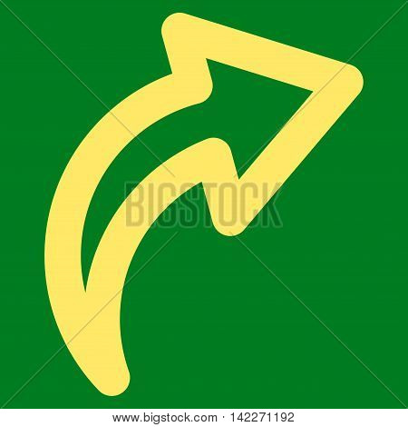 Redo glyph icon. Style is outline flat icon symbol, yellow color, green background.