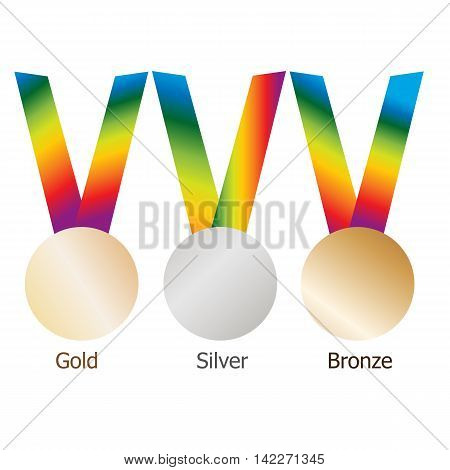 Gold medal, silver medal, bronze medal on multicolor ribbons with shiny metallic surfaces. Isolated gold, silver, bronze medals on white background.Vector set