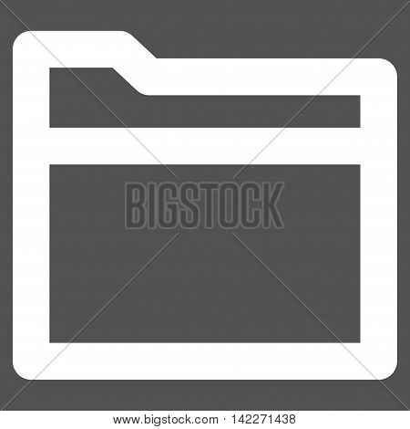 Folder glyph icon. Style is stroke flat icon symbol, white color, gray background.
