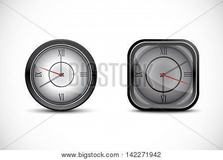 Illustration of Grey wall clock isolated on white background
