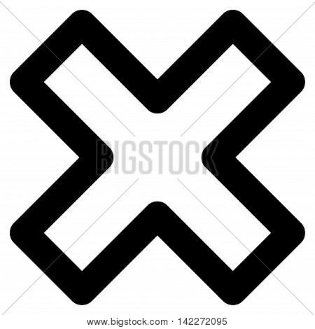 Delete X-Cross glyph icon. Style is contour flat icon symbol, black color, white background.