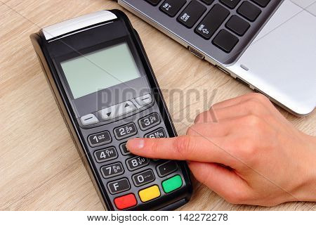 Hand Of Woman Using Payment Terminal, Enter Personal Identification Number