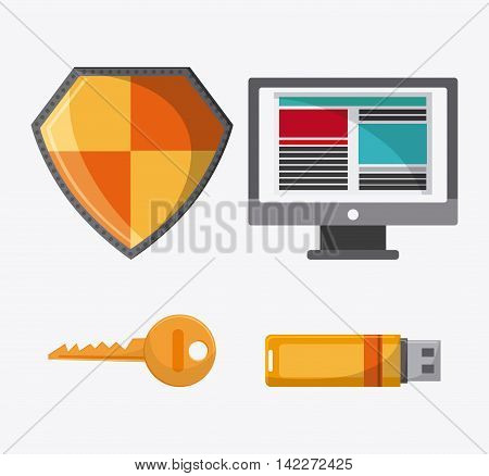 computer shield key usb cyber security system protection icon. Colorfull illustration. Vector graphic