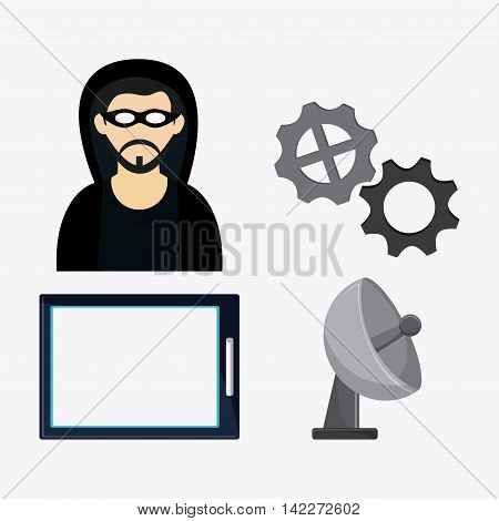 hacker thief tablet gear antenna cyber security system protection icon. Colorfull illustration. Vector graphic