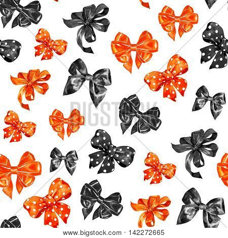 Halloween orange and black bows seamless pattern isolated on white