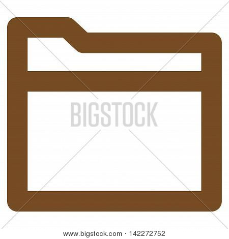 Folder glyph icon. Style is linear flat icon symbol, brown color, white background.