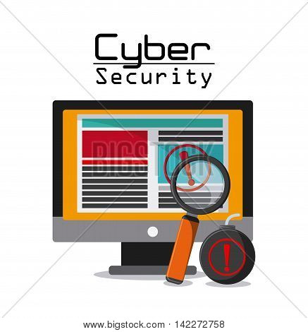 computer lupe bomb cyber security system protection icon. Colorfull illustration. Vector graphic