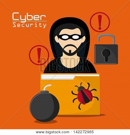 hacker thief file bomb bug padlock cyber security system protection icon. Colorfull illustration. Vector graphic