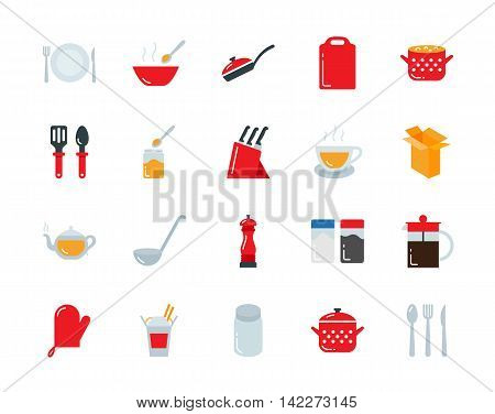 Kitchenware and utensil colorful vector icons set flat style