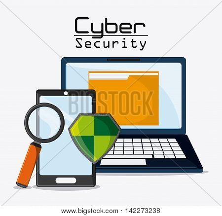 laptop file lupe shield smartphone cyber security system protection icon. Colorfull illustration. Vector graphic