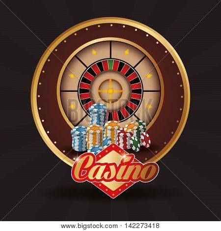 roulette chips casino las vegas game icon. Colorfull illustration. Vector graphic