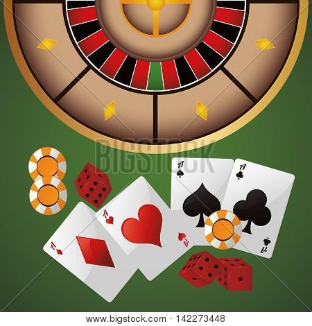 cards chips dice casino las vegas game icon. Colorfull illustration. Vector graphic