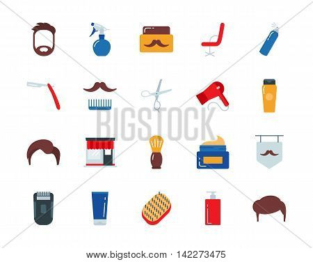 Barber colorful vector icons set flat style