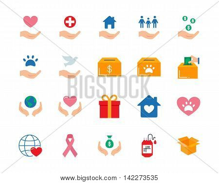 Charity colorful vector icons set flat style