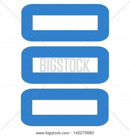 Database glyph icon. Style is linear flat icon symbol, cobalt color, white background.