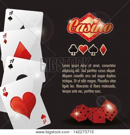 cards dice casino las vegas game icon. Colorfull illustration. Vector graphic