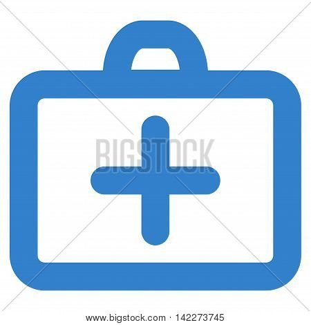 First Aid glyph icon. Style is outline flat icon symbol, cobalt color, white background.