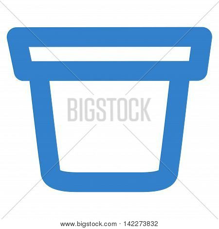 Pail glyph icon. Style is outline flat icon symbol, cobalt color, white background.