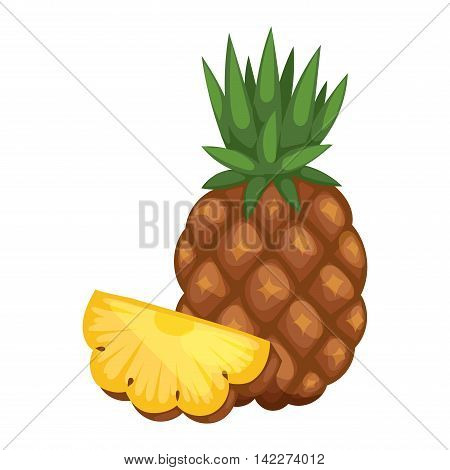 Pineapple isolated on white tropical healthy fruit, sweet ananas tasty fruit. Ananas pineapple tropical fruit and ananas pineapple healthy fruit food. Tropical vitamin pineapple fruit