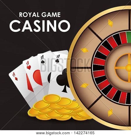 cards roulette coins casino las vegas game icon. Colorfull illustration. Vector graphic