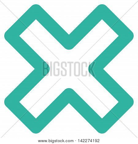 Delete X-Cross glyph icon. Style is linear flat icon symbol, cyan color, white background.