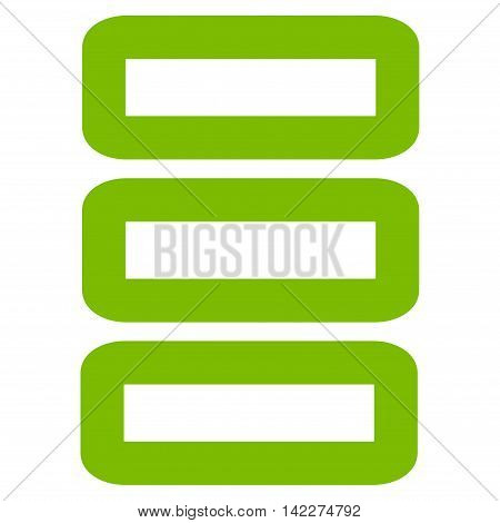 Database glyph icon. Style is contour flat icon symbol, eco green color, white background.