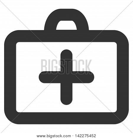 First Aid glyph icon. Style is stroke flat icon symbol, gray color, white background.