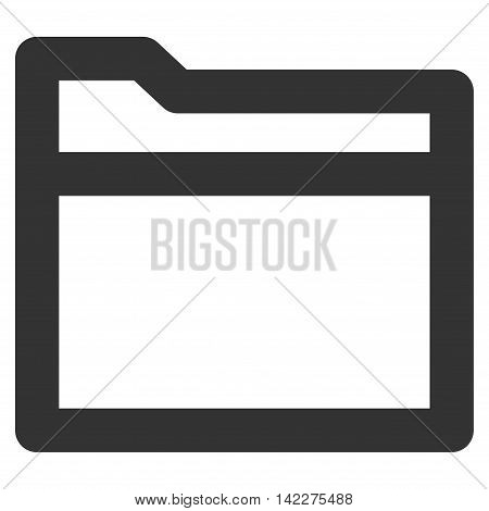Folder glyph icon. Style is linear flat icon symbol, gray color, white background.