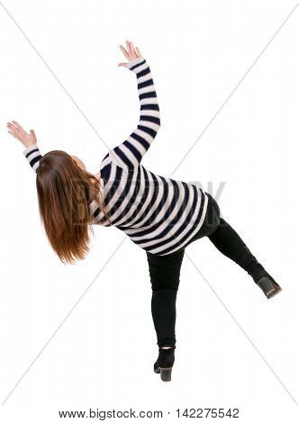 Balancing young woman.  or dodge falling woman. Rear view people collection.  backside view of person.  Isolated over white background. Girl in a striped jacket falls falls dodging what the top.