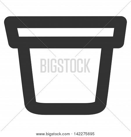 Pail glyph icon. Style is stroke flat icon symbol, gray color, white background.