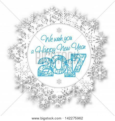 Happy New Year 2017 Card With Abstract Snowflakes
