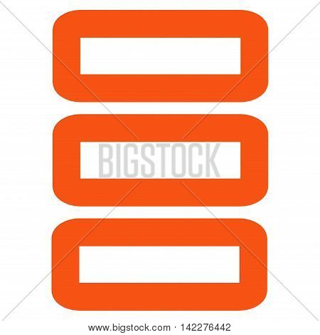 Database glyph icon. Style is stroke flat icon symbol, orange color, white background.