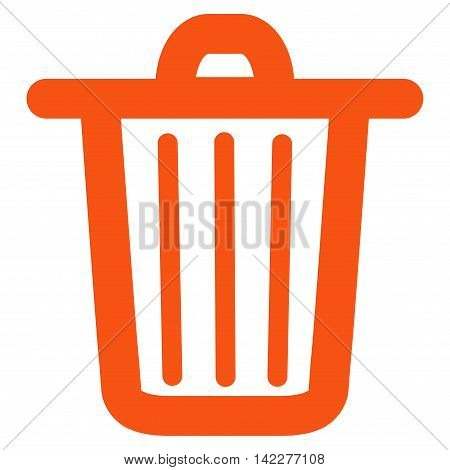 Trash Can glyph icon. Style is linear flat icon symbol, orange color, white background.