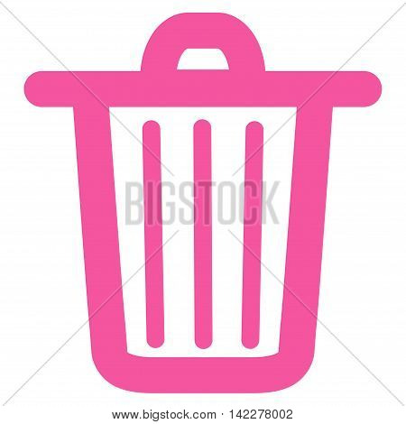 Trash Can glyph icon. Style is contour flat icon symbol, pink color, white background.