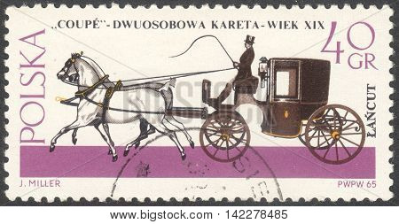 MOSCOW RUSSIA - CIRCA MAY 2016: a post stamp printed in POLAND shows a Coupe coach the series