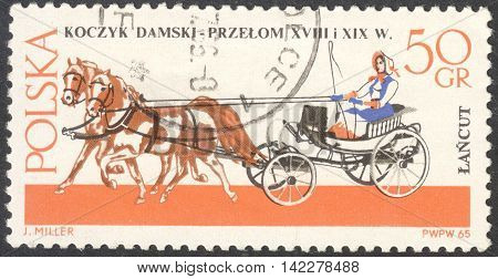 MOSCOW RUSSIA - CIRCA MAY 2016: a post stamp printed in POLAND shows a Lady's basket coach the series