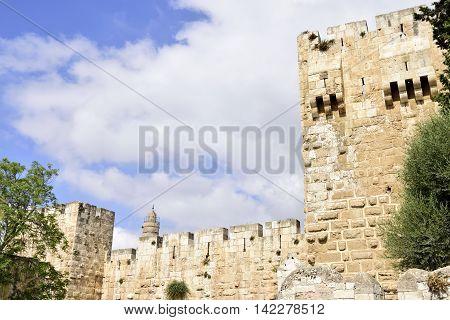 Tall walls of Ancient Citadel in Old City of Jerusalem Israel.