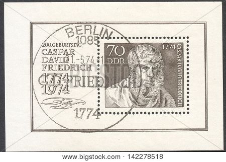 MOSCOW RUSSIA - CIRCA MAY 2016: a post stamp printed in DDR dedicated to the 200th Anniversary of the Birth of Caspar David Friedrich circa 1974