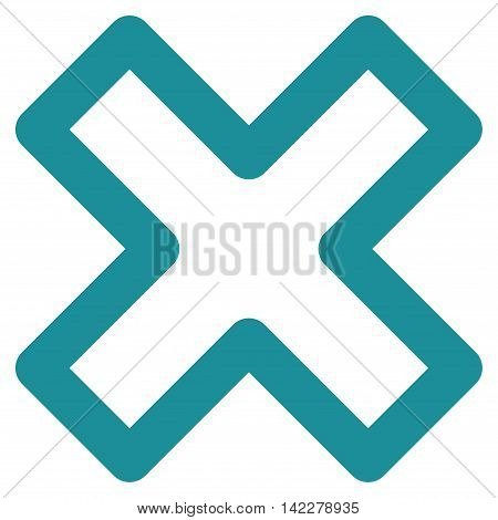 Delete X-Cross glyph icon. Style is contour flat icon symbol, soft blue color, white background.