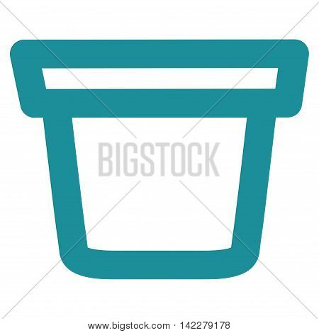 Pail glyph icon. Style is outline flat icon symbol, soft blue color, white background.