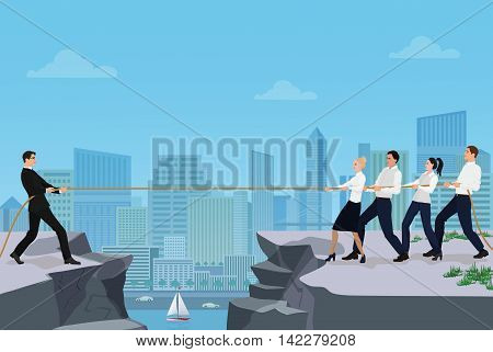 Powerful strong businessman competing with group of businessmen office people team playing tug of war battle between the rocks on the city background