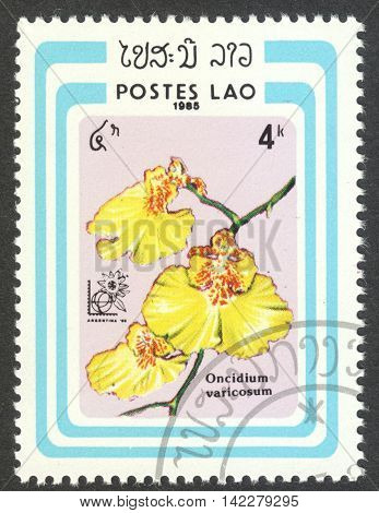 MOSCOW RUSSIA - CIRCA MAY 2016: a post stamp printed in LAOS shows Oncidium varicosum orchid the series
